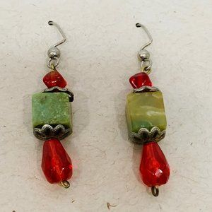Vintage Square Green Stone  Red Beads  Pierced Ear